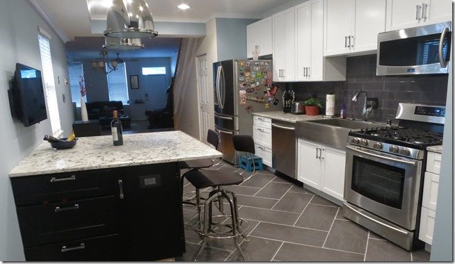 Rowhouse Kitchen Renovation herringbone pattern floor