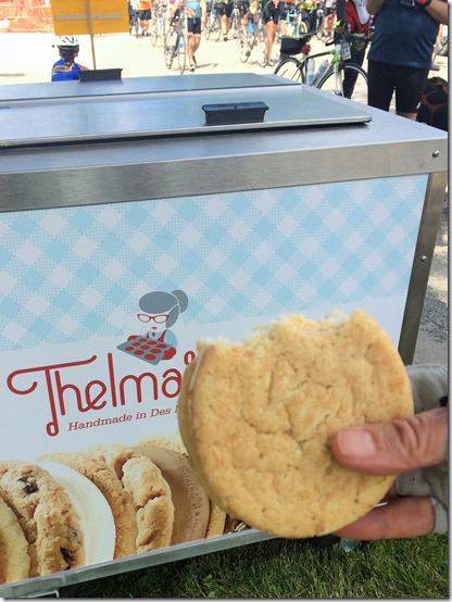 Food on RAGBRAI Thelmas Ice Cream cookie sandwiches