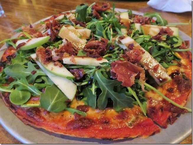 Tappo Thin Crust pizza pancetta and arugula