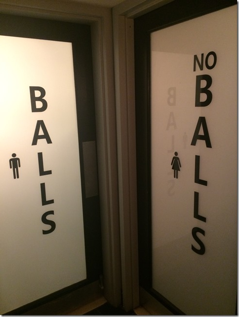 8 Ball Meatball bathroom signs